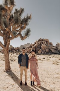 a stylish photo of bree and stephen in joshua tree national park - taken by dakai photography