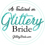 badge for glittery bride feature
