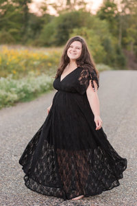 wooster senior photos dancing in the road wearing black dress photographed by Jamie Lynette Photography Canton Ohio Wedding and Senior Photographer