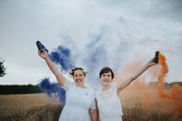 Village Hall Wedding, Maxstoke, Emily & Hannah - Electric Blue -409