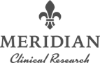 A grayscale logo for Meridian Clinical Research.