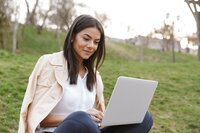 Woman confident on laptop