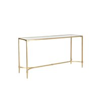 Gold frame console table with glass top.