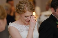 Emotional reaction of bride during speeches in Minneapolis Hotel