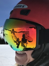 Picture of skiing through goggles