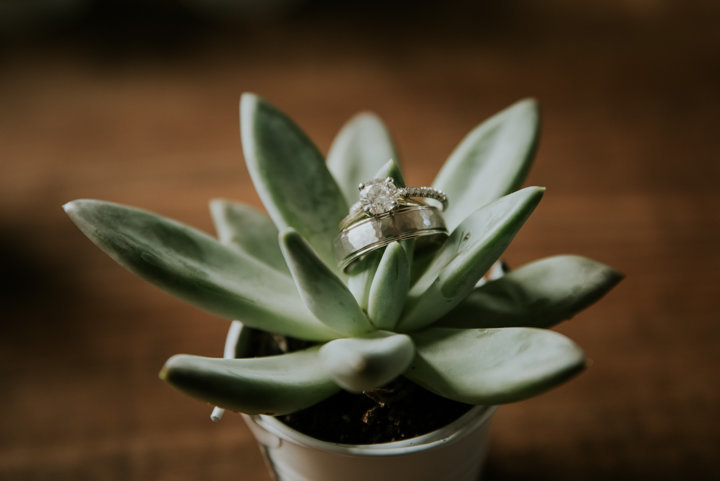 succulent ring wedding detail shot
