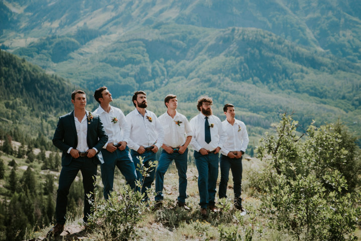 marble co wedding photographer, marble wedding photographers, marble elopement photographers, aspen colorado elopement photographer, adventure wedding photographer, adventure elopement photographers, mountain wedding photography, amazing views, groomsmen colorado, salty spruce studio, blue suit, white shirt and blue pants groomsmen