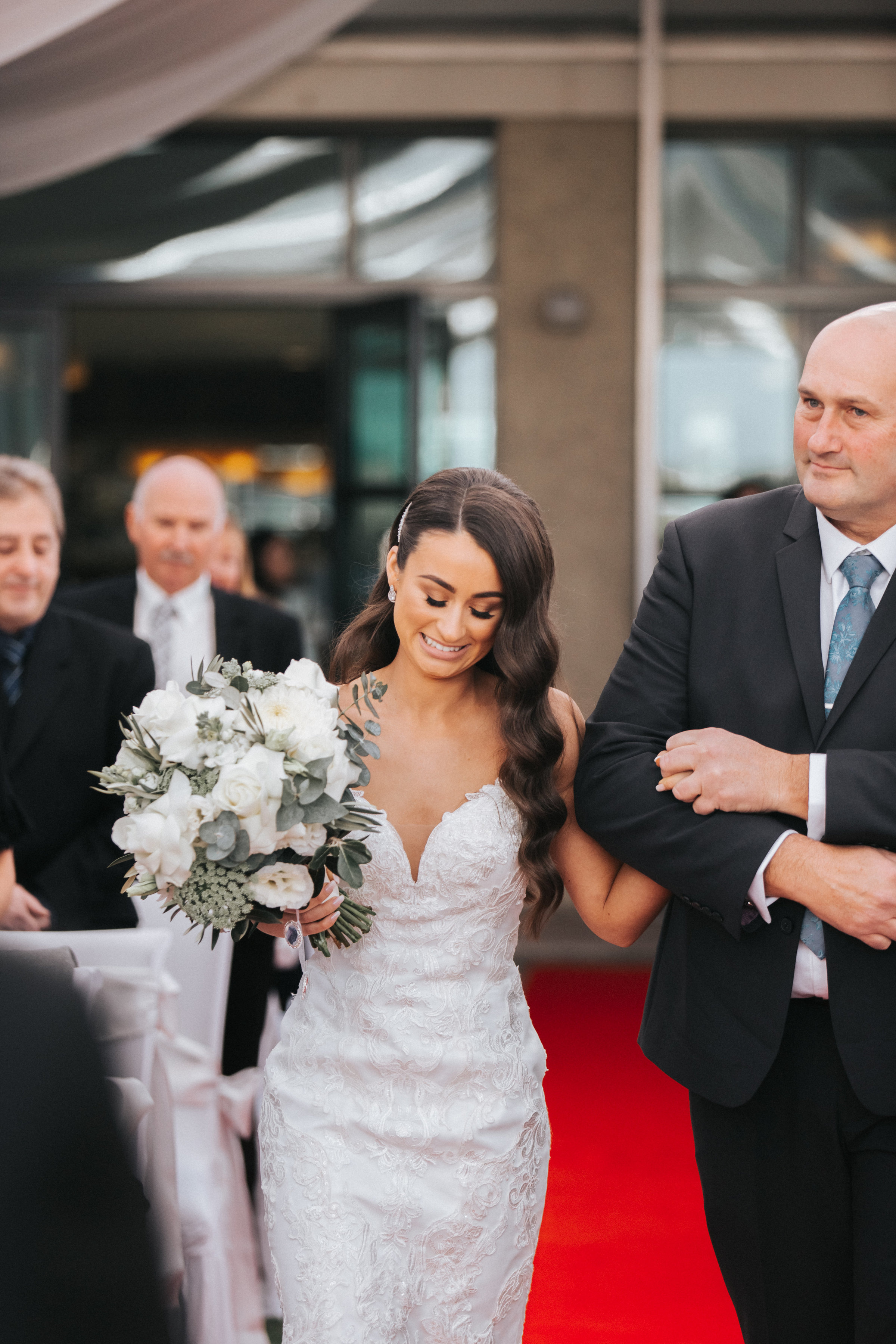 Father of Bride walking down the aisle at Yering Meadows Golf Club in Yarra Valley