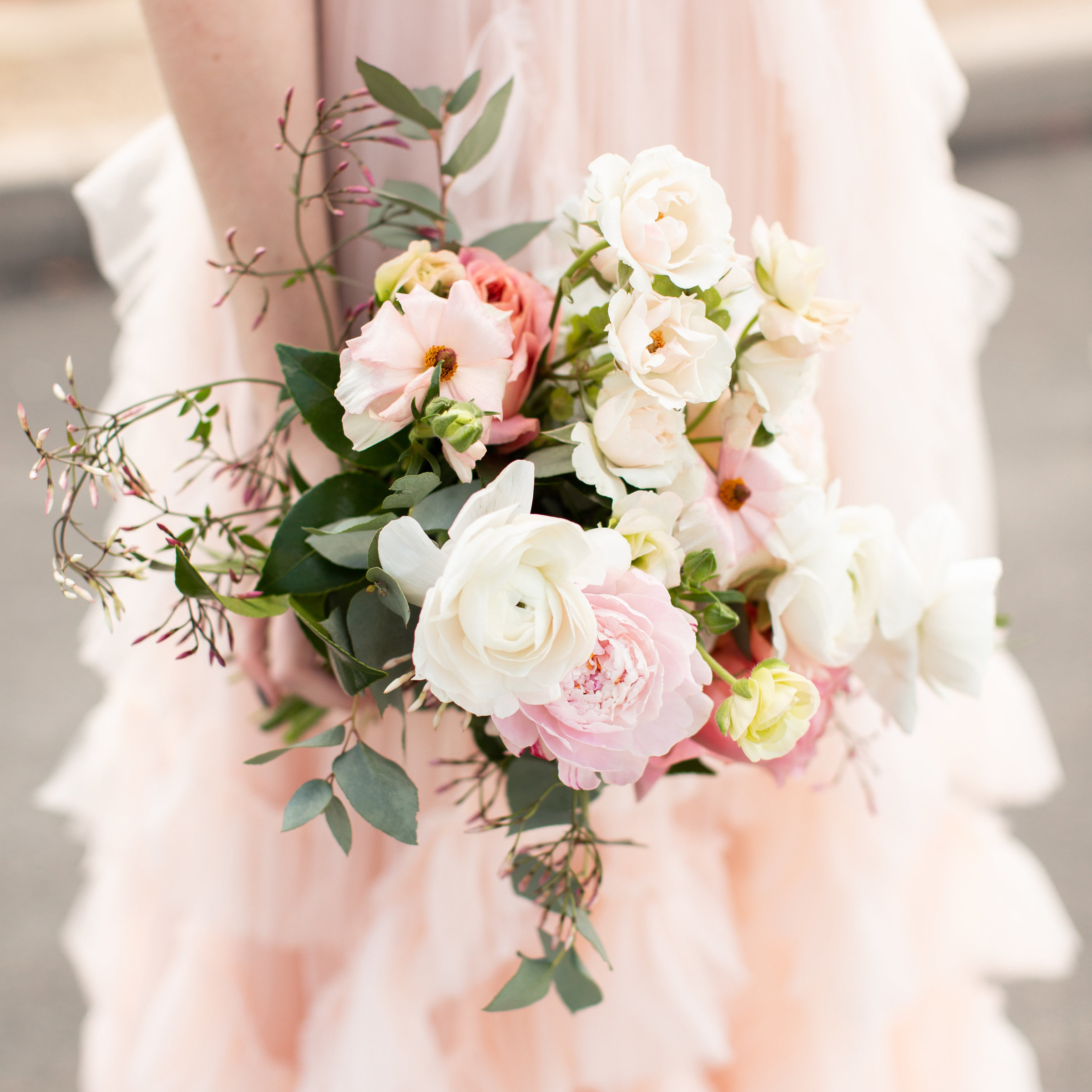 blush pink bridesmaid bouquet dress