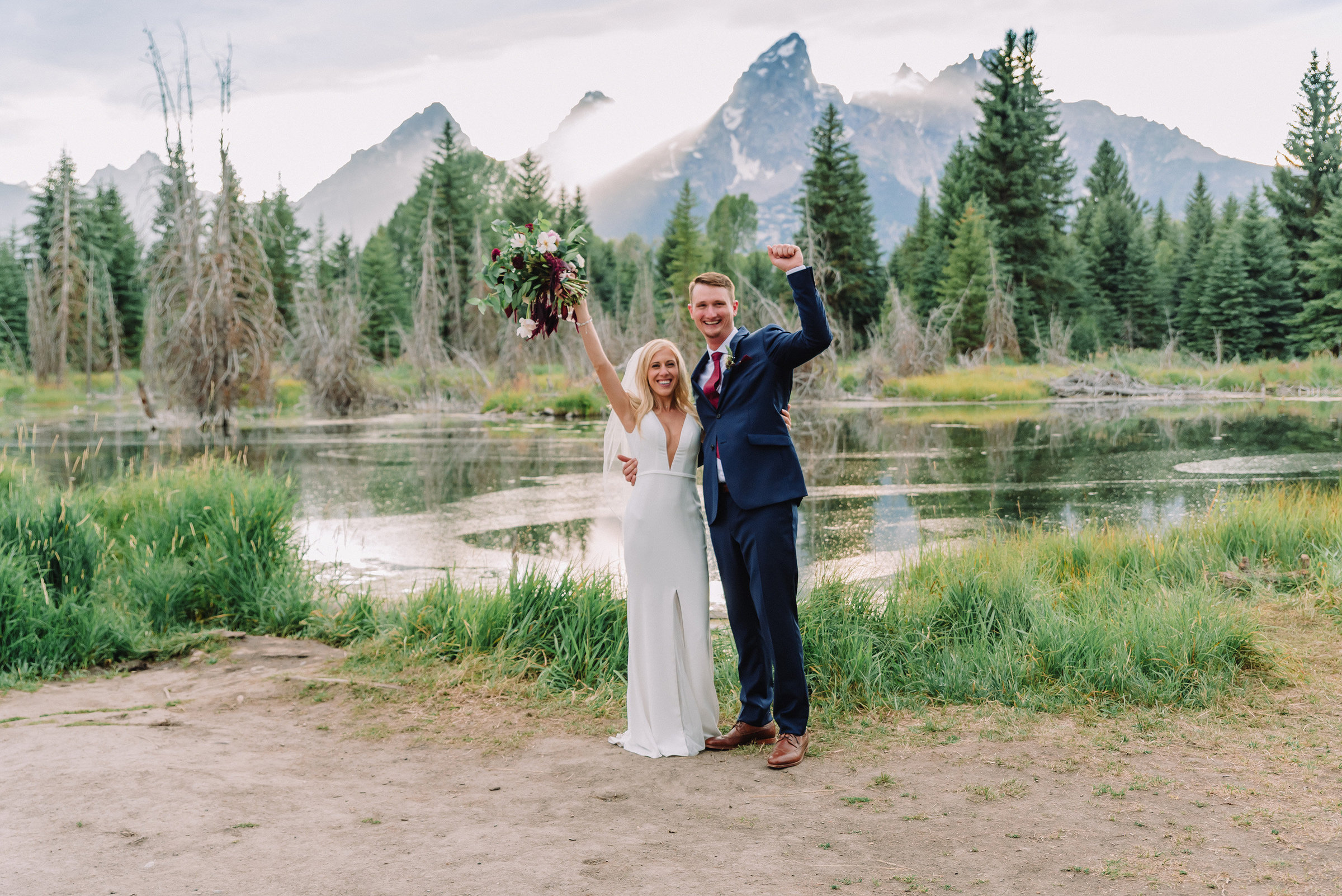 bride and groom at their intimate grand teton national park elopement in jackson hole wedding photographer