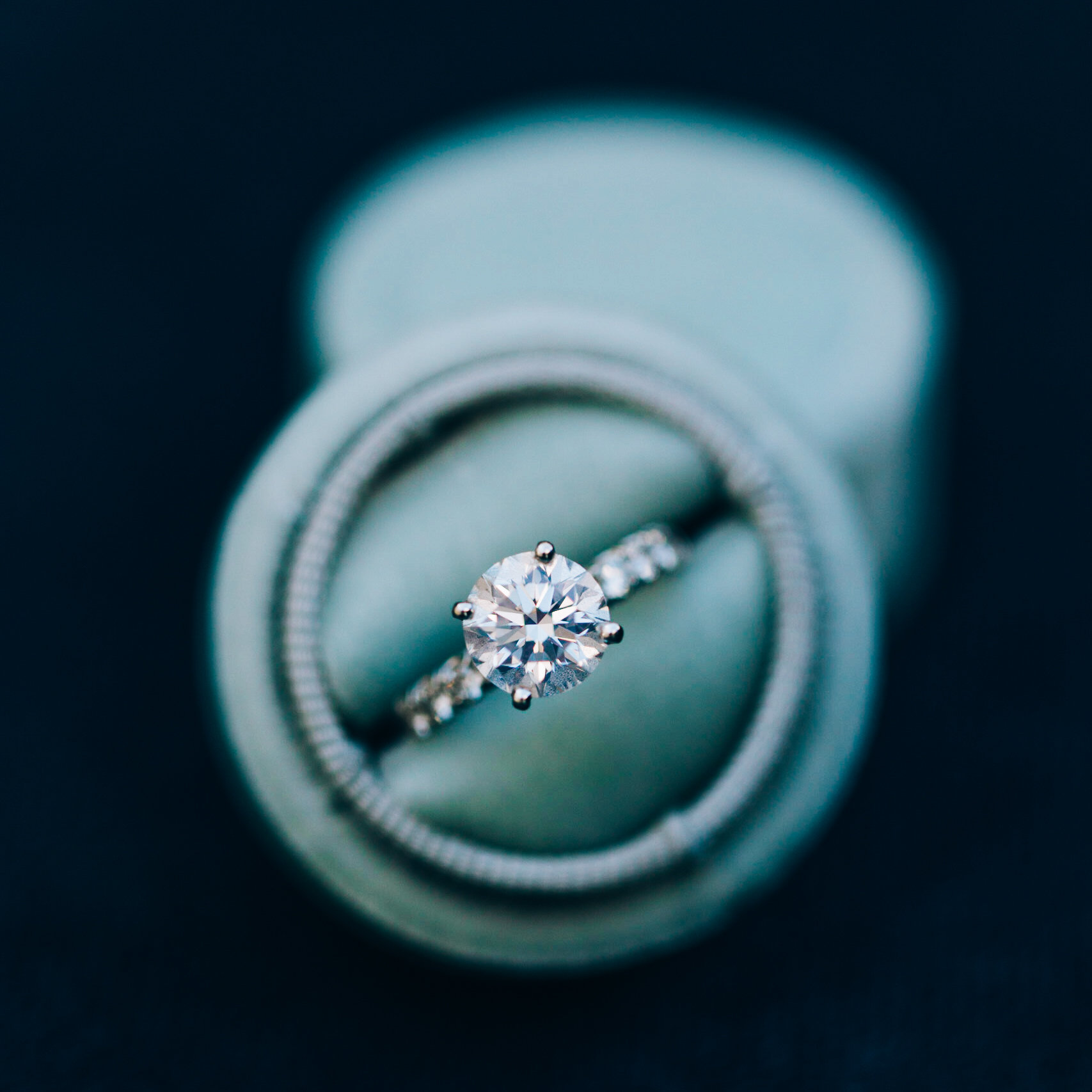 diamond engagement ring green box