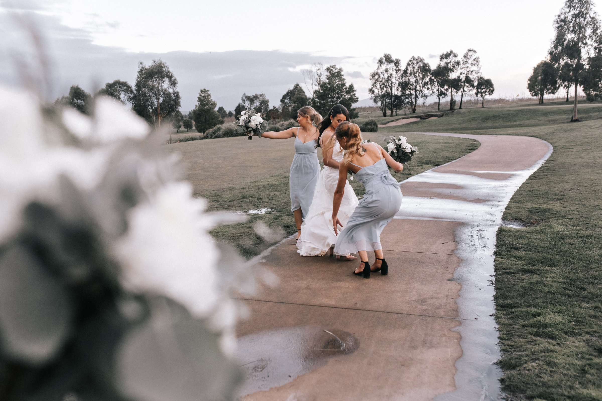 Bridal Party with Bridal Gown Melbourne Wedding Photograph