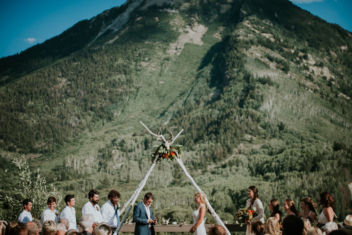 mountain wedding ceremony, boho wedding ceremony, salty spruce studio, outdoor ceremony marble colorado