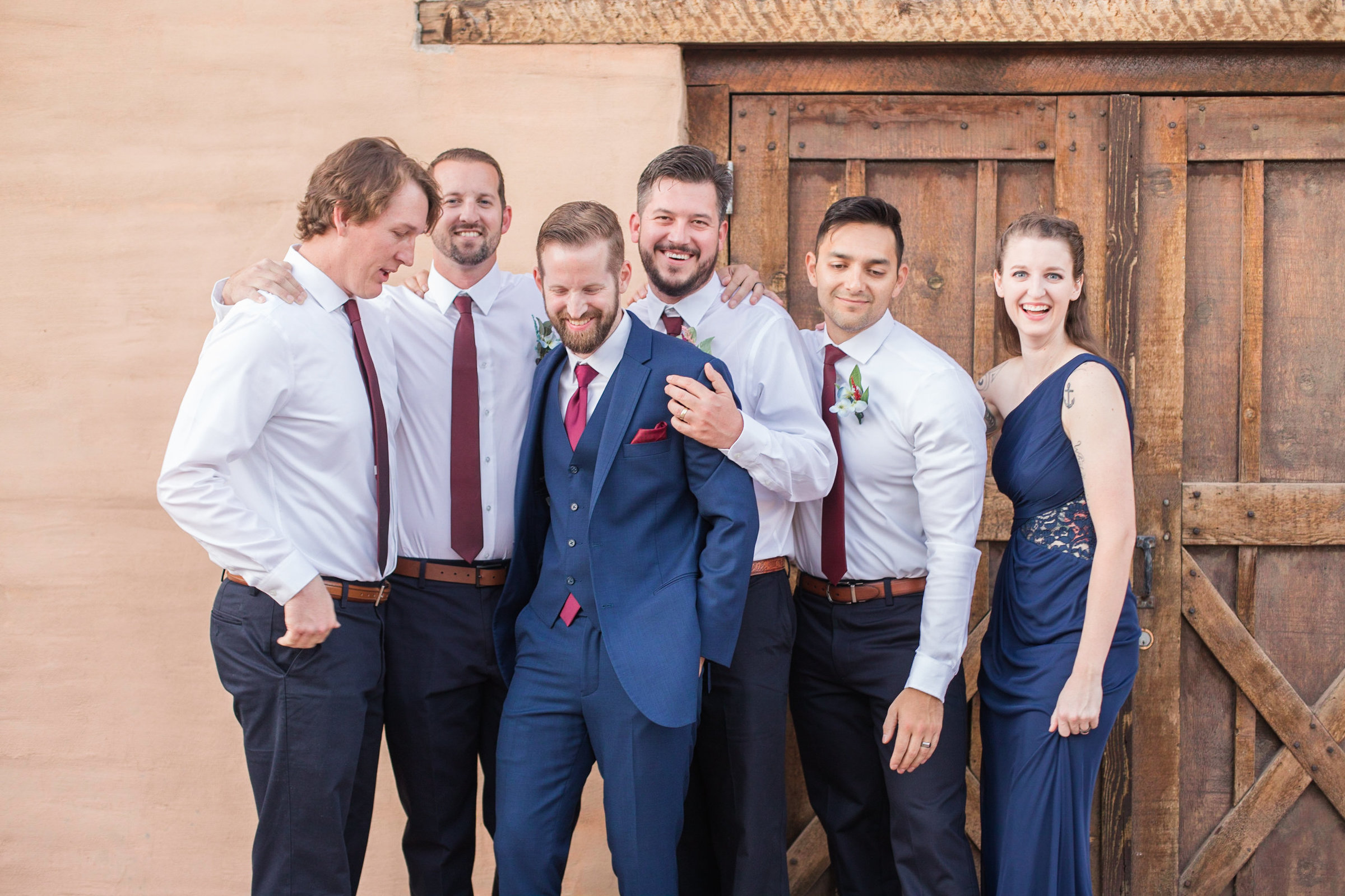 Photograph of groom and his groomsmen at their wedding in Scottsdale