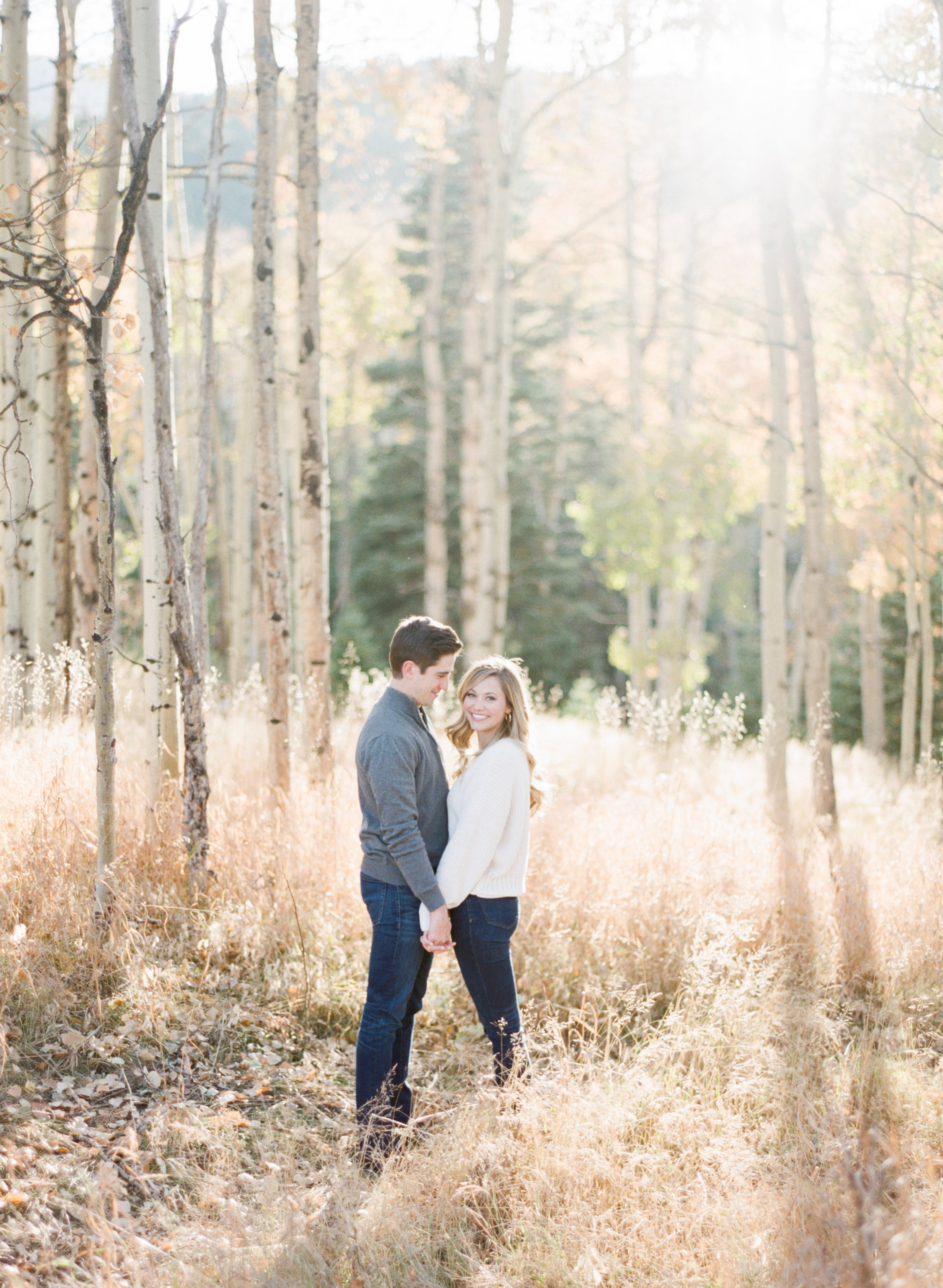 engagement photo in fall in colorado