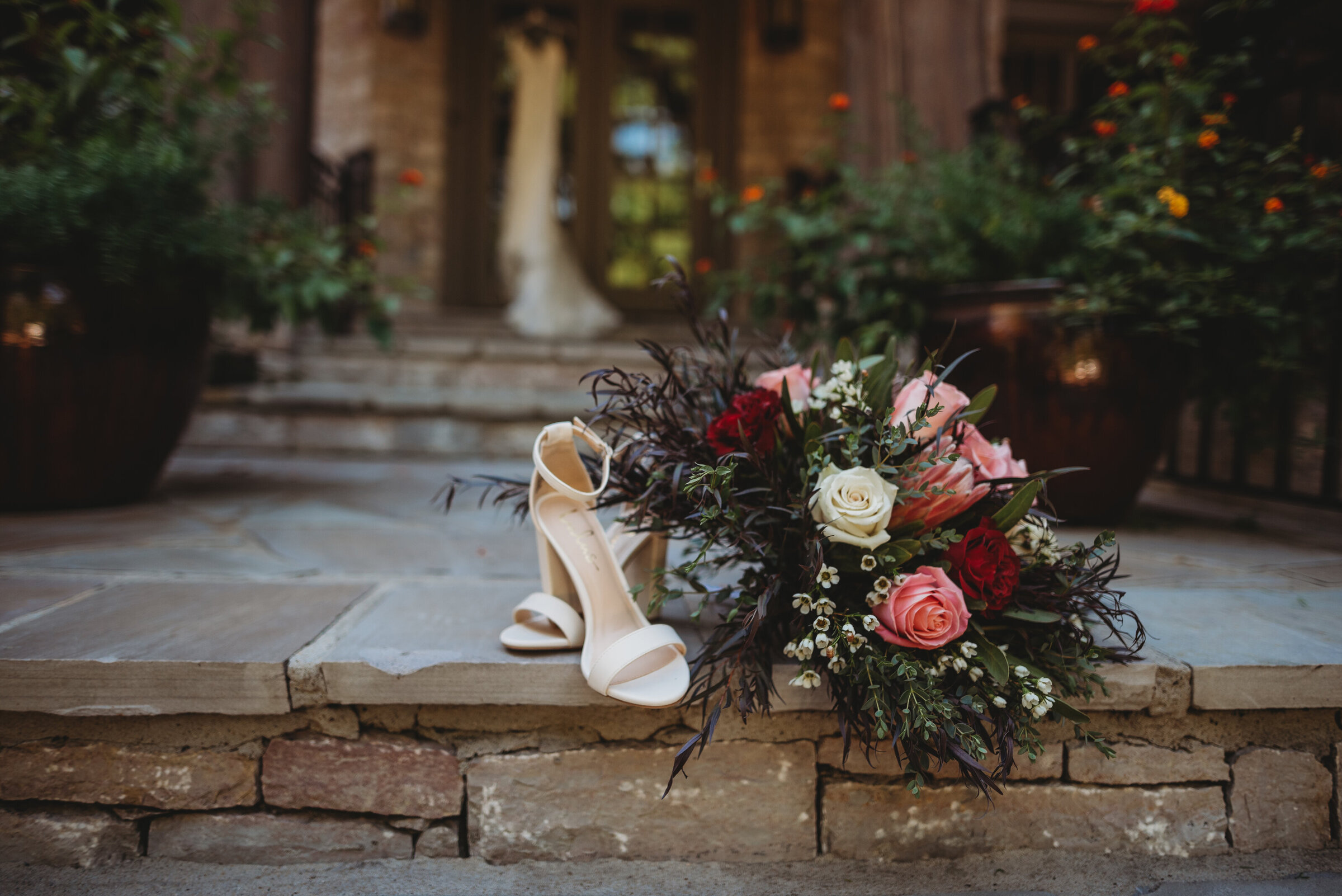 Hannah and Triston October Wedding Brentwood Tennessee Shoes and Bouquet