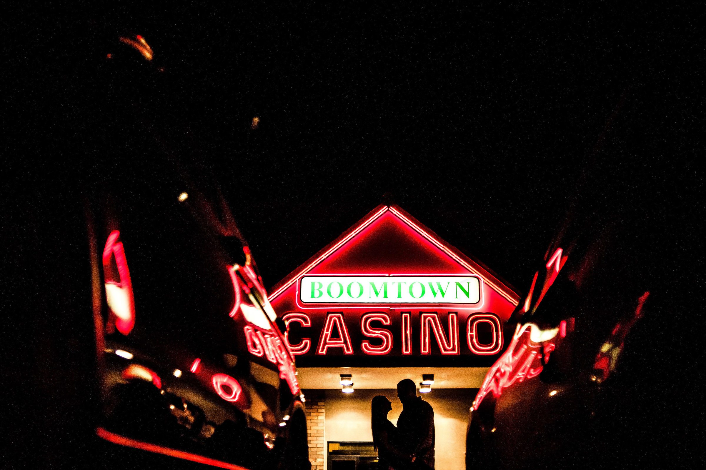 Silhouette of couple at Boomtown Casino in Fort McMurray Alberta