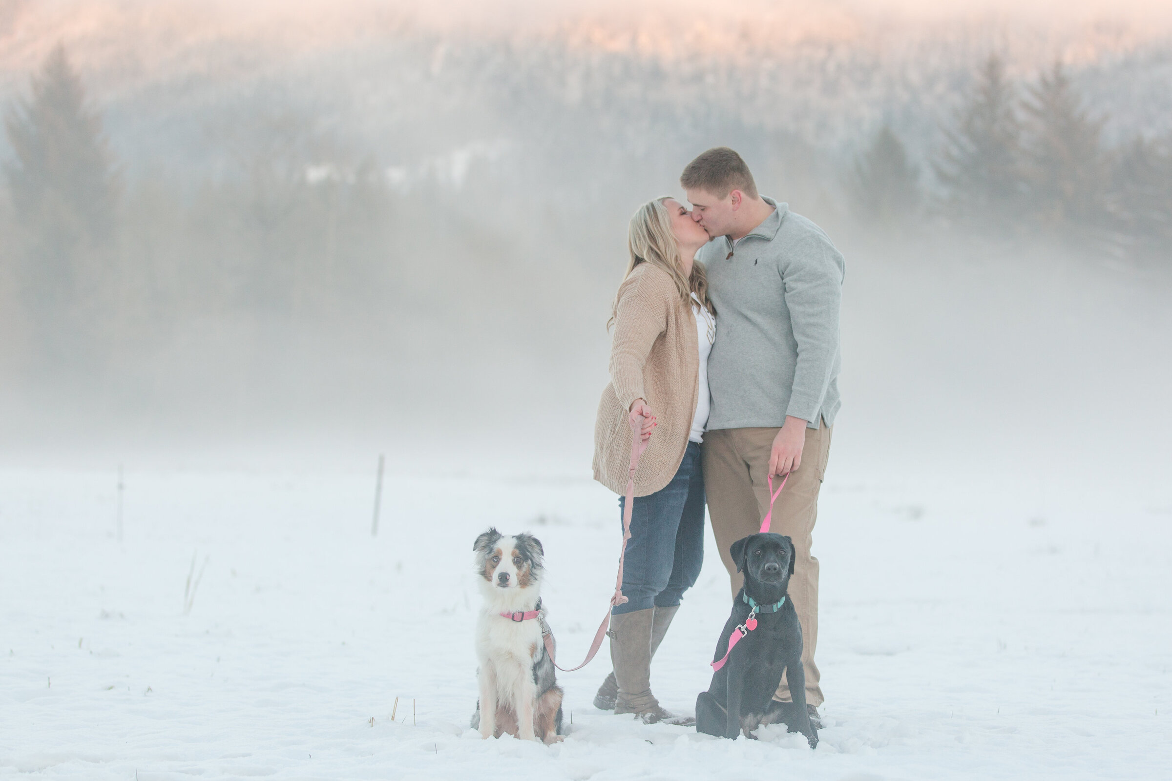 bellingham engagement photographers skagit valley engagement session snowy couple kissing