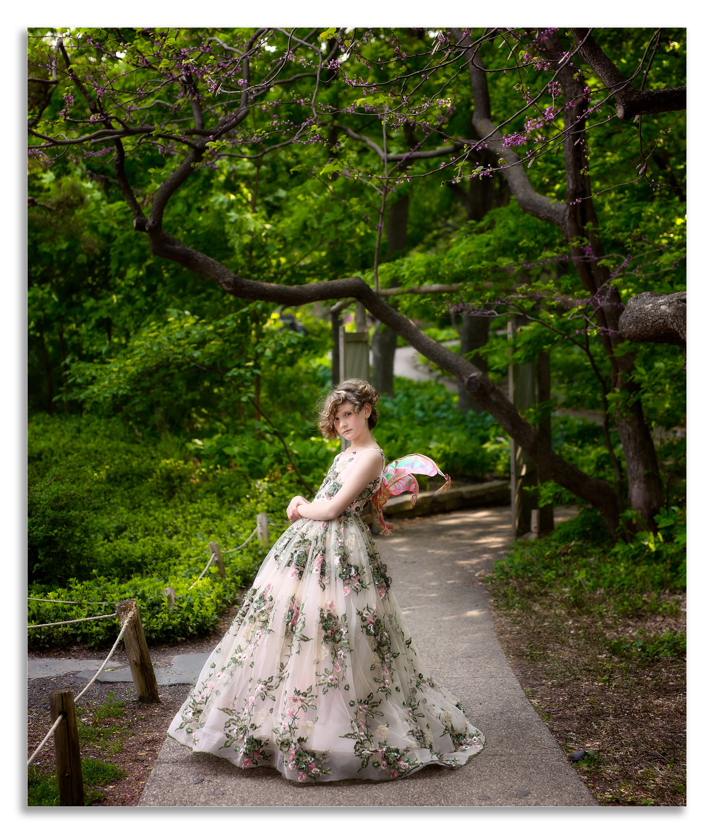 Girl with fancy gown and wings professional photographer in savannah, GA