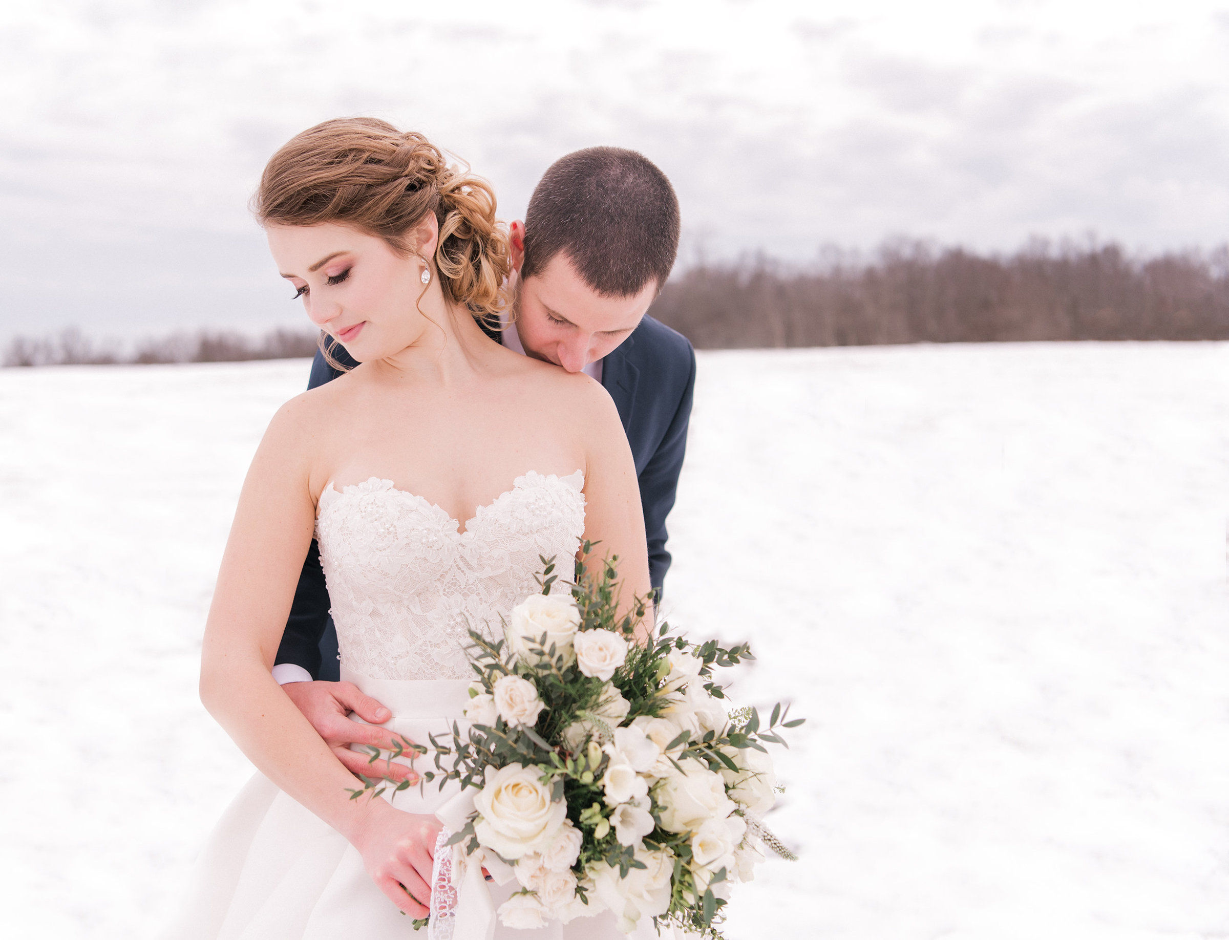 wedding photography in winter in hudson valley, new york
