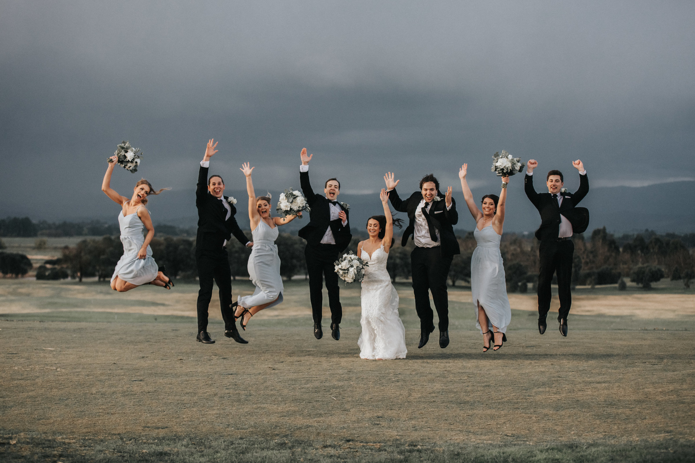 Bridal Party Jumping Photograph at Yering Meadows Golf Course in Melbourne