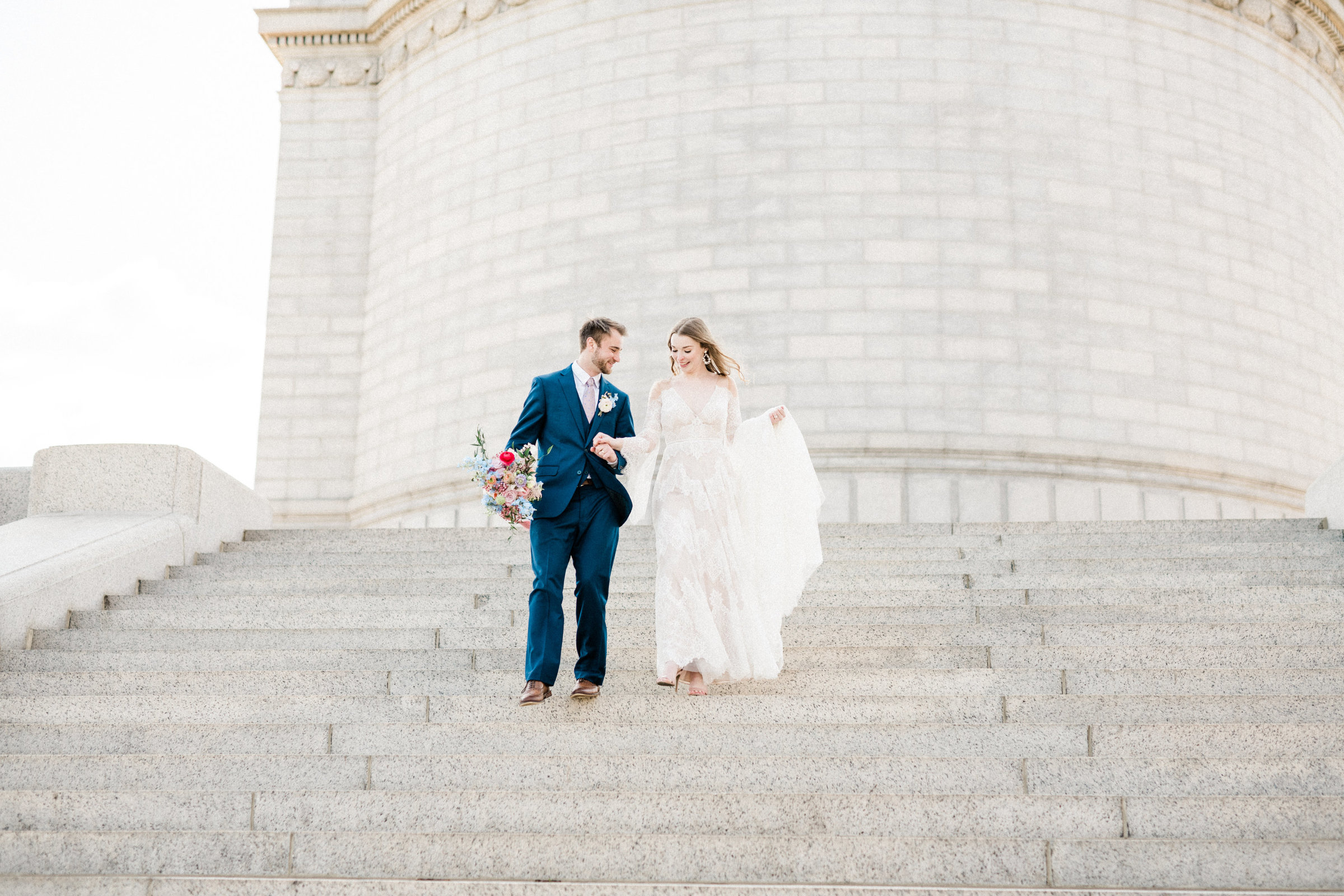 Bride & Groom at McKinley Monument, Wedding Planned by Sirpilla Soirees, Cleveland Wedding Planner