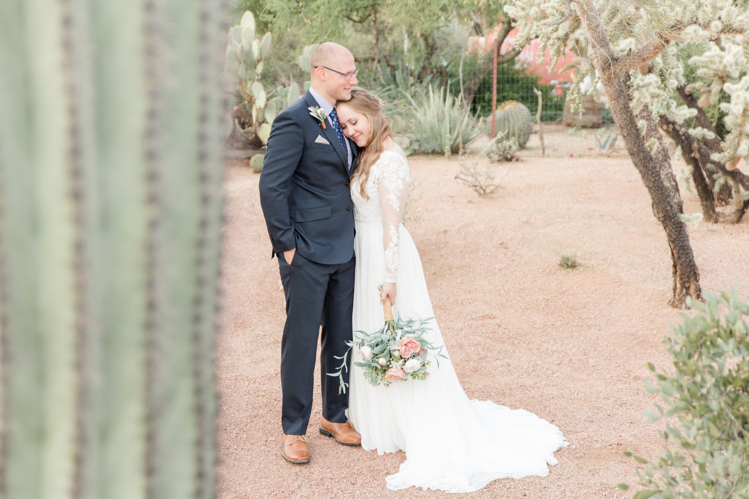 A cactus in the foreground and a bride and groom standing in the Arizona desert
