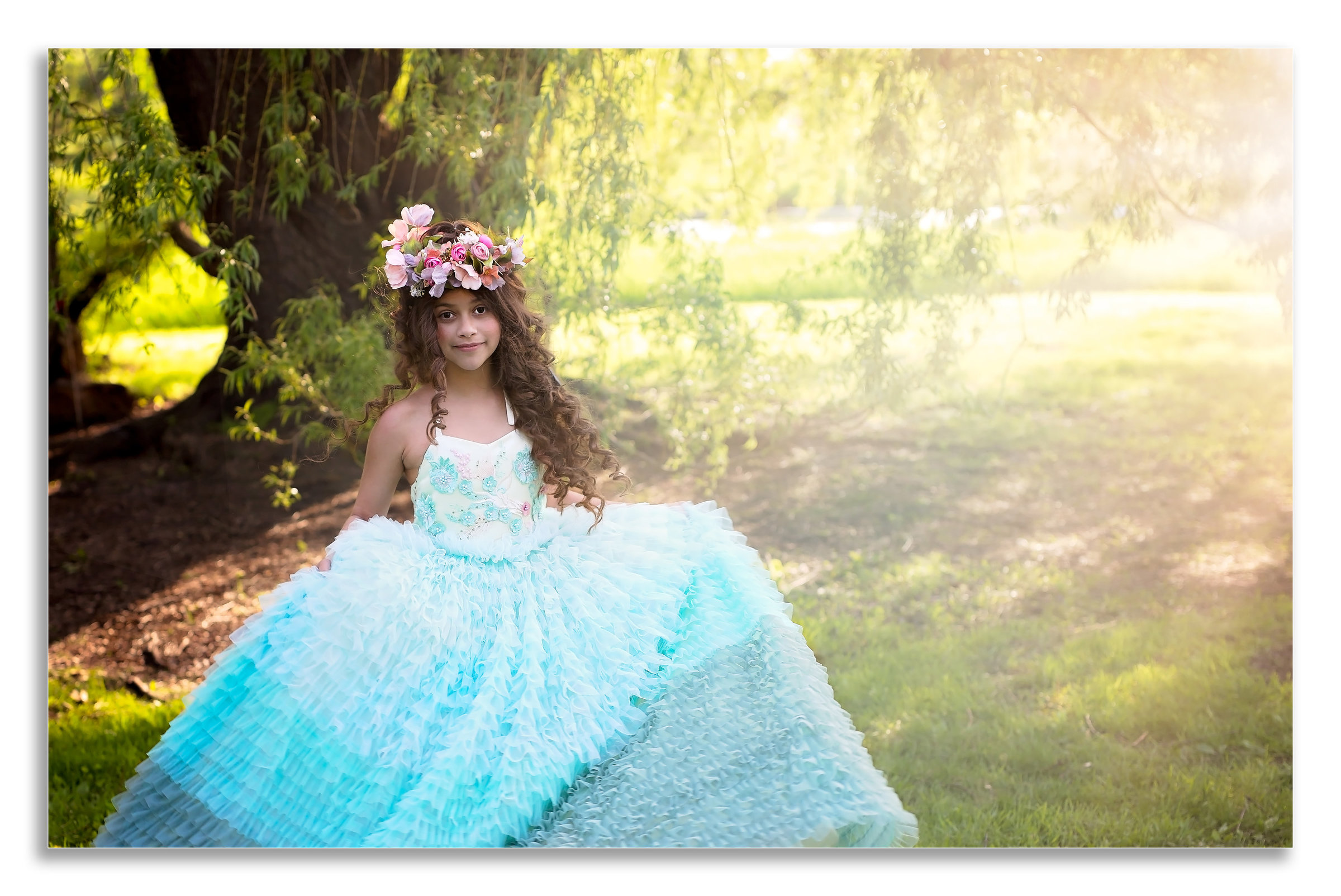 Girl with fancy gown professional photographer in savannah, GA