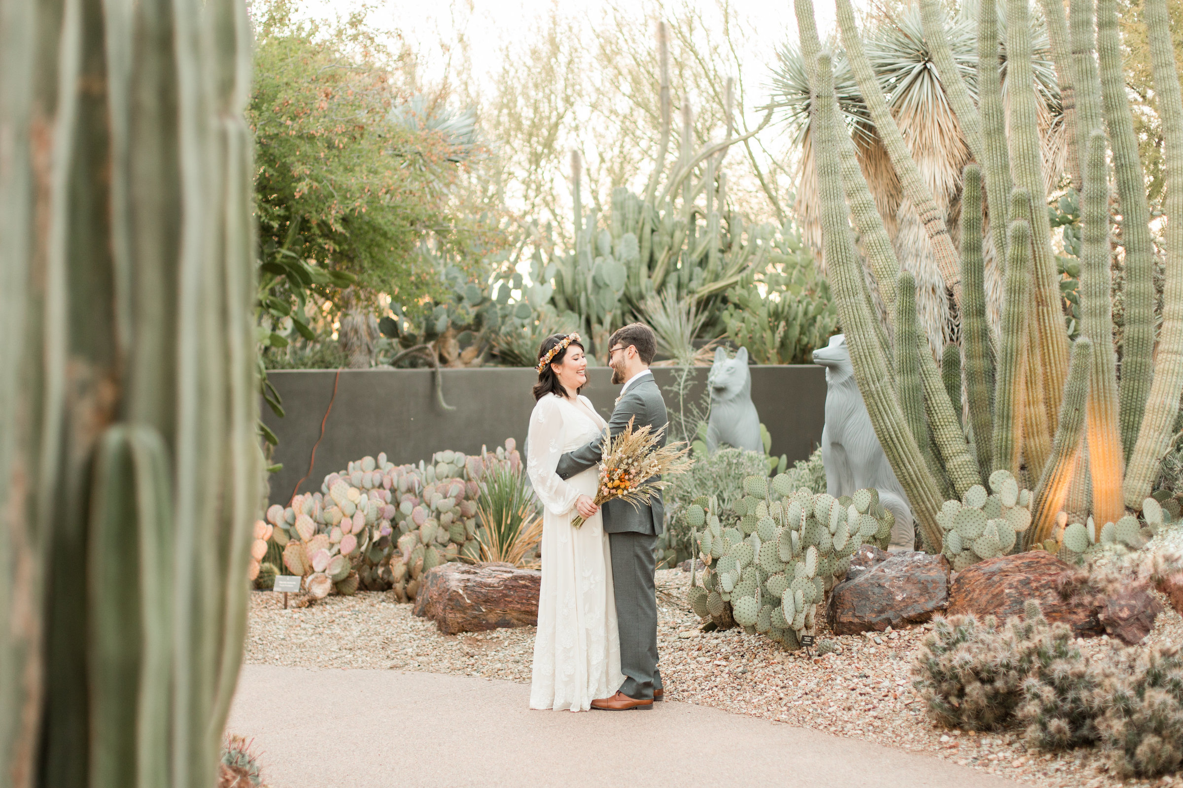 Bride and groom at their wedding at Desert Botanical Garden