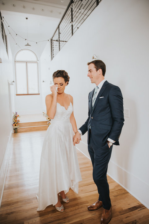 emotional first look colorado wedding