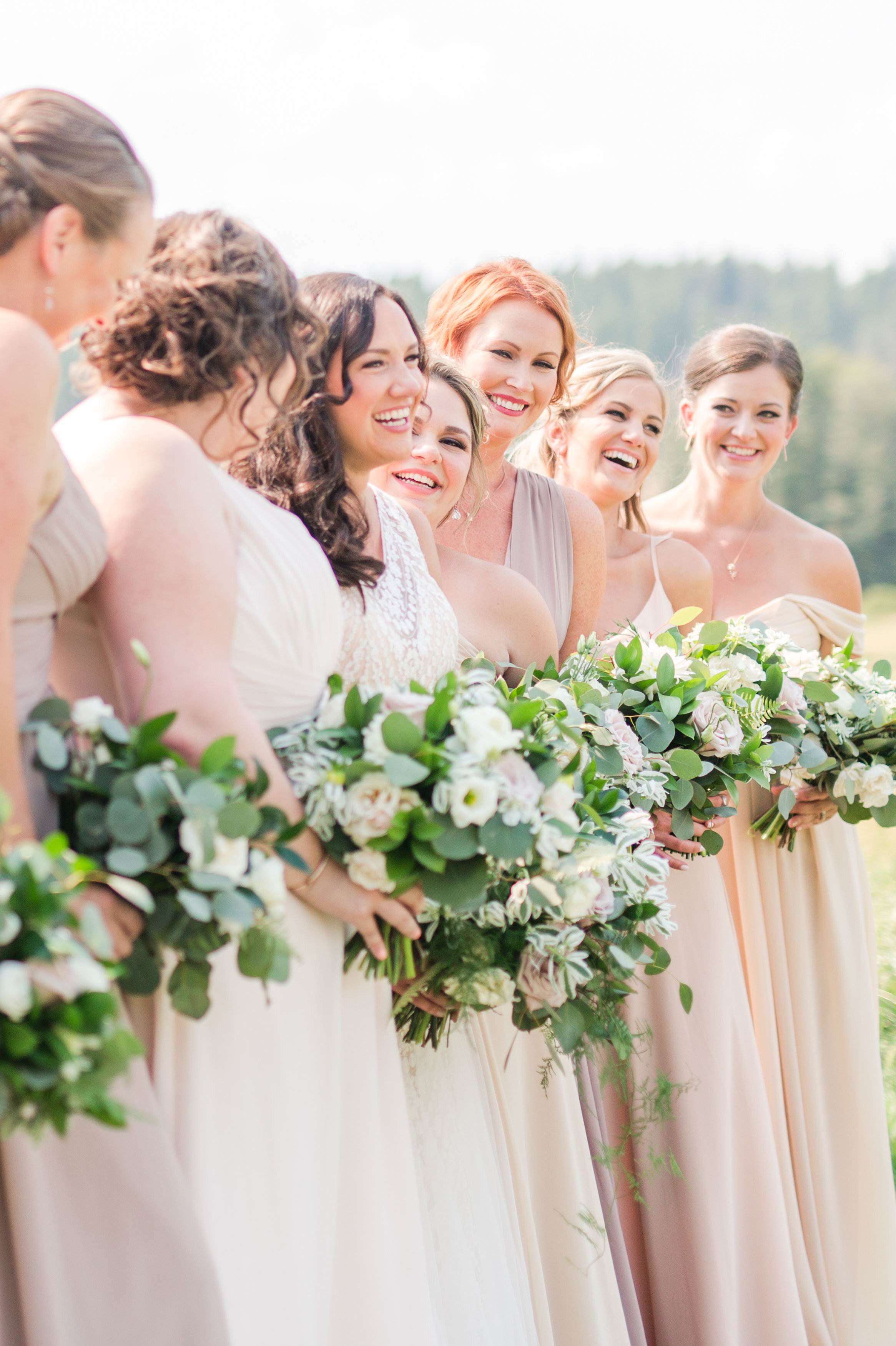 Bride and friends Cle Elum Cattle Barn Wedding