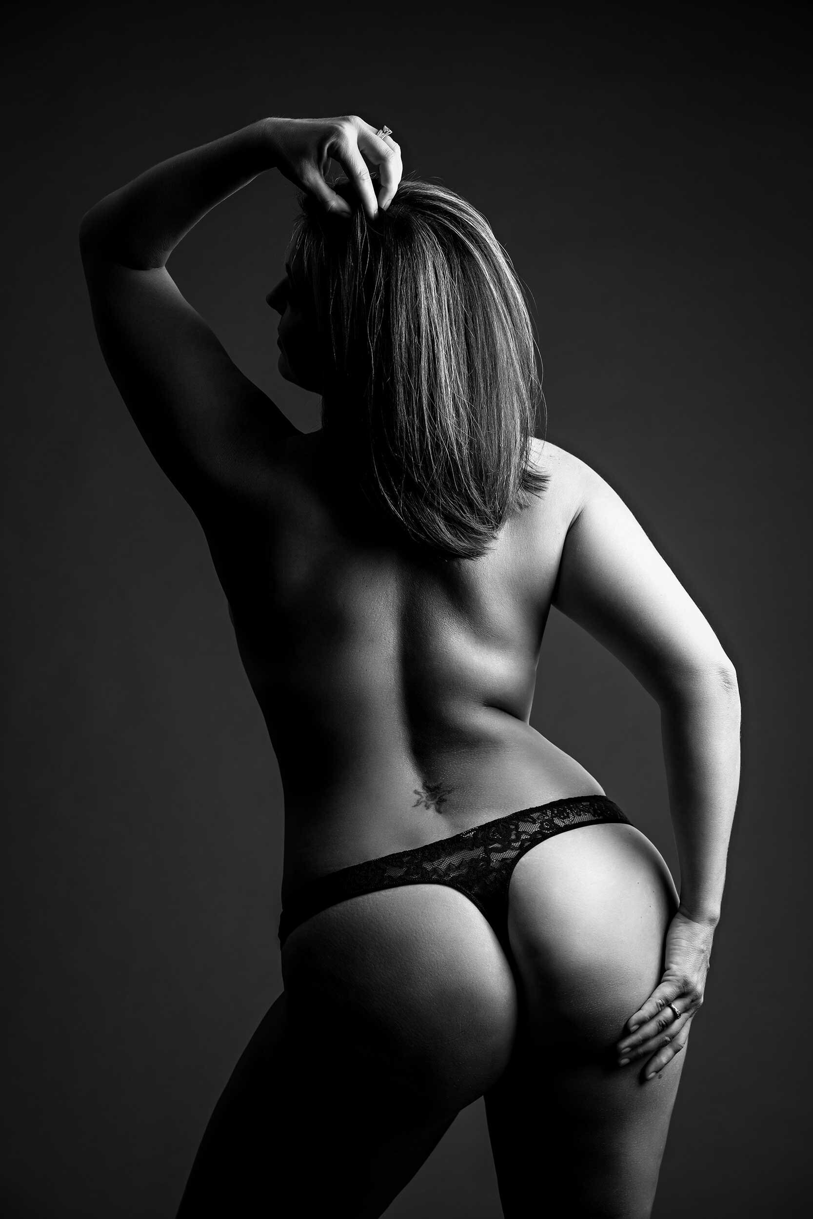 black lace thong on short brown hair woman
