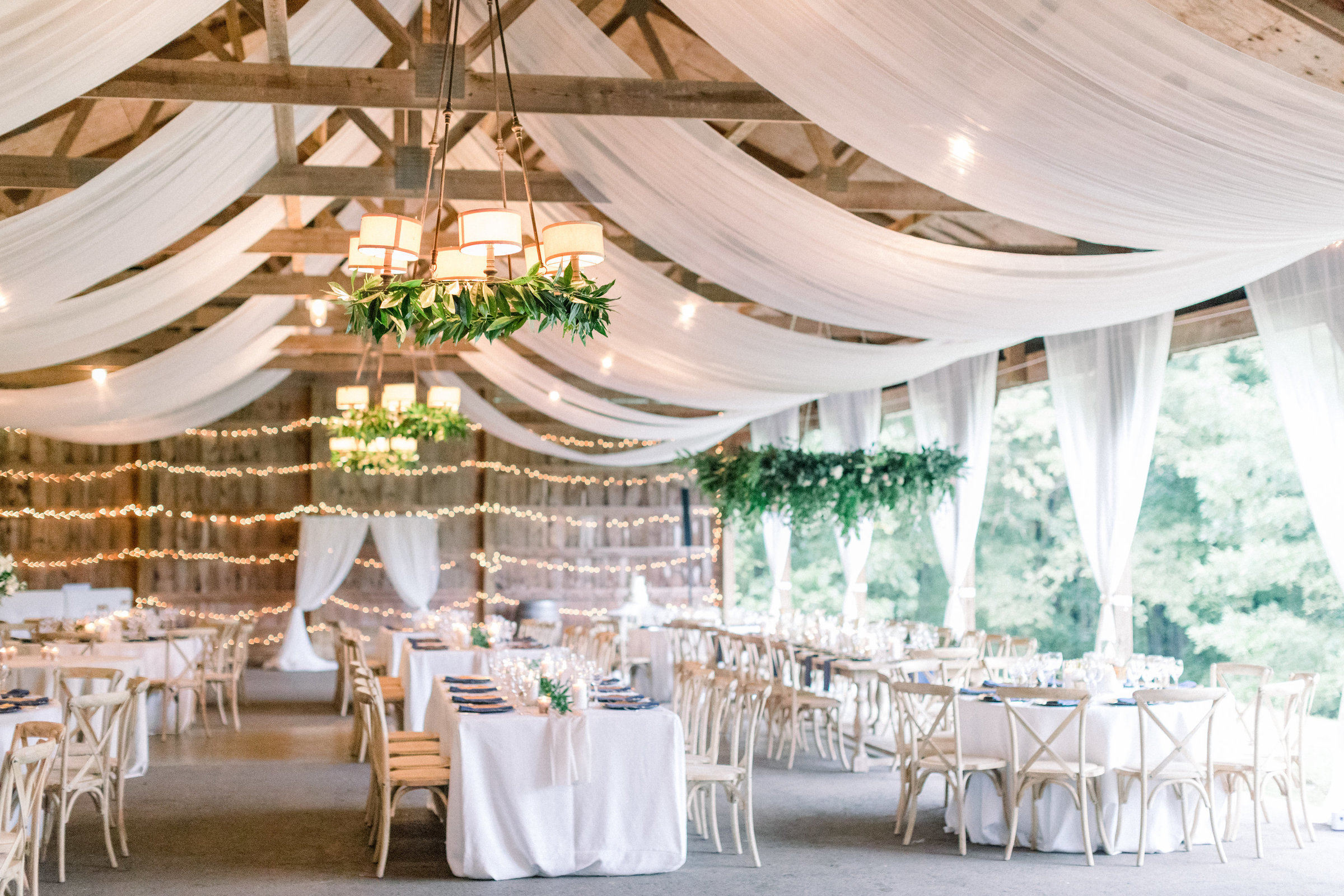 Elegant Barn Reception designed by Cleveland Ohio's Best Wedding Planner