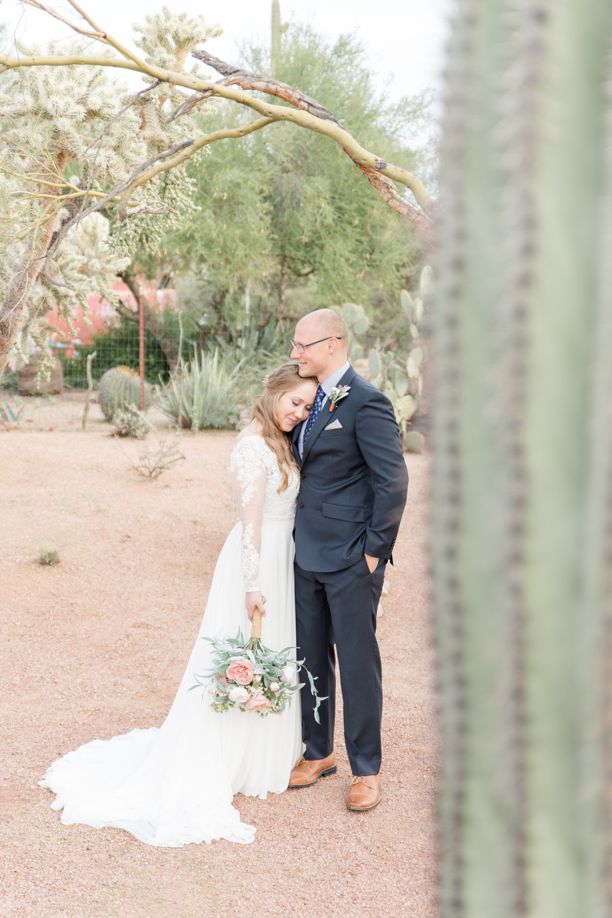 Bride and groom at their desert wedding venue