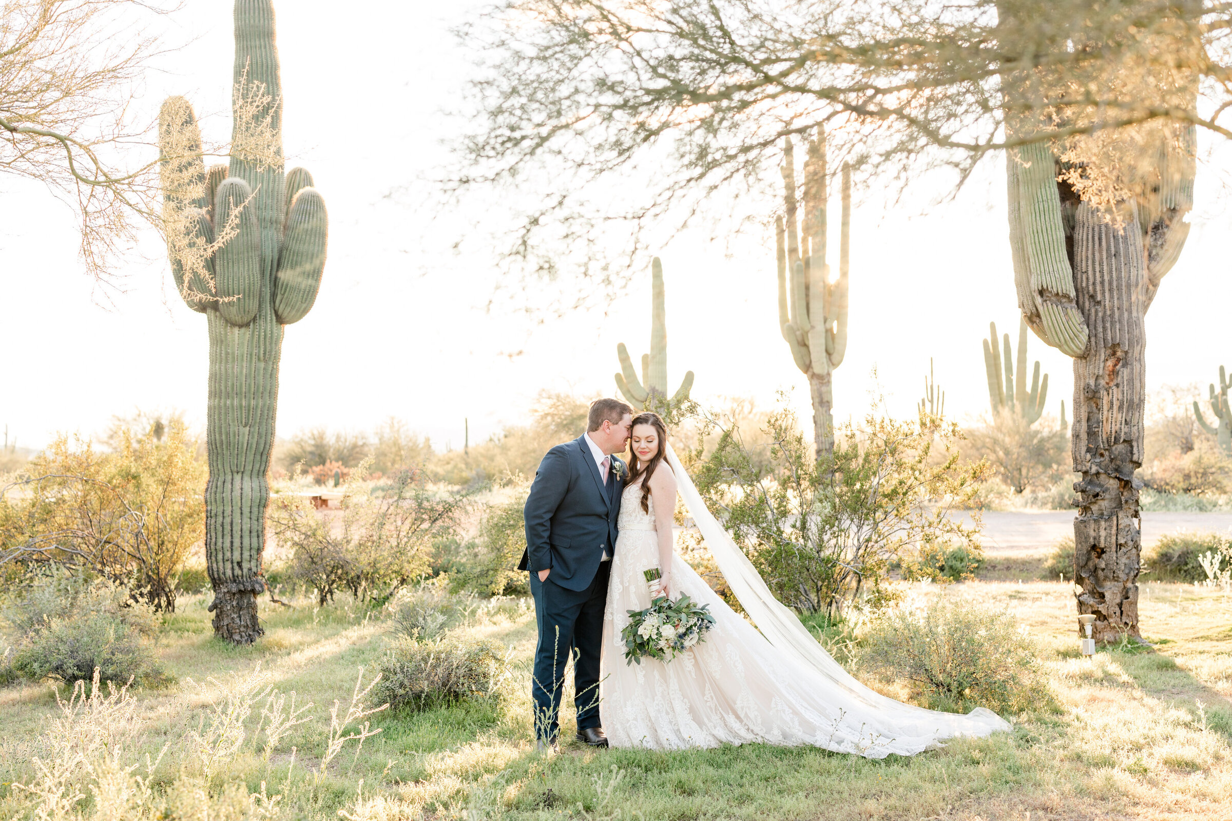 Bride and groom in the desert surrounded by saguaro cacti