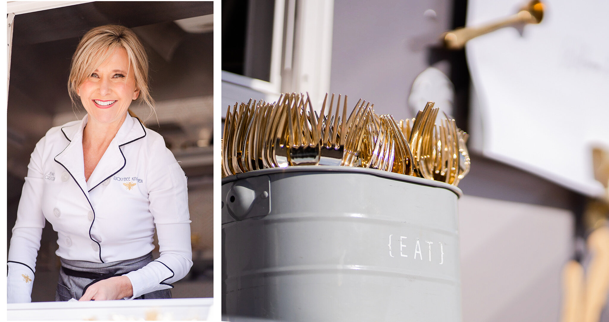 photos of personal chef in white coat and detail images of gold forks
