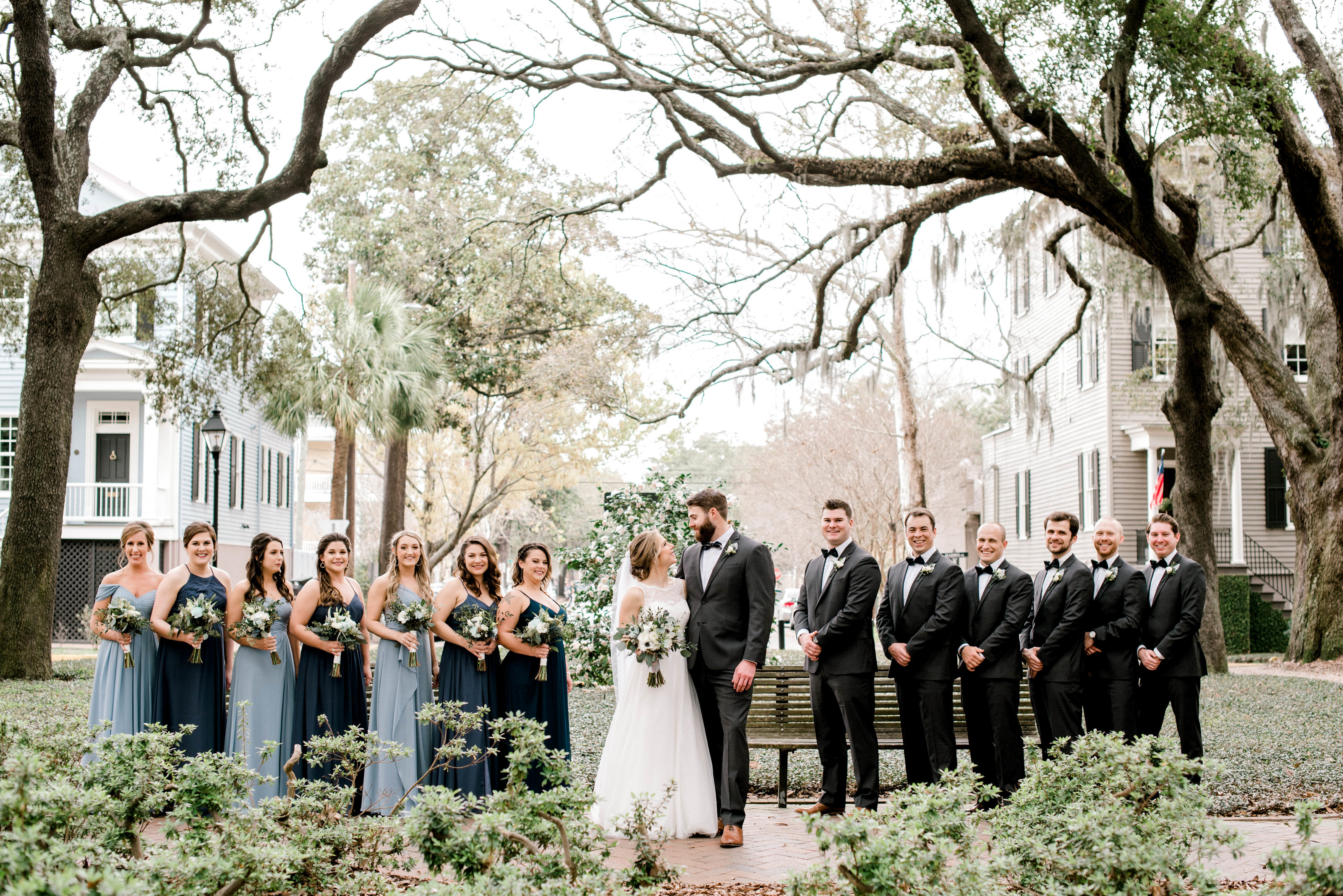Pulaski Square Savannah Wedding Party Blue Spring