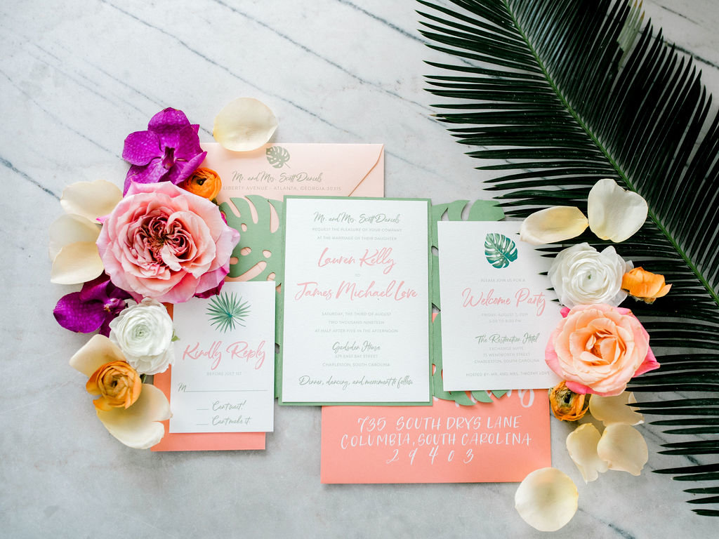 Tropical Invitation Suite Styled Shoot  Charleston