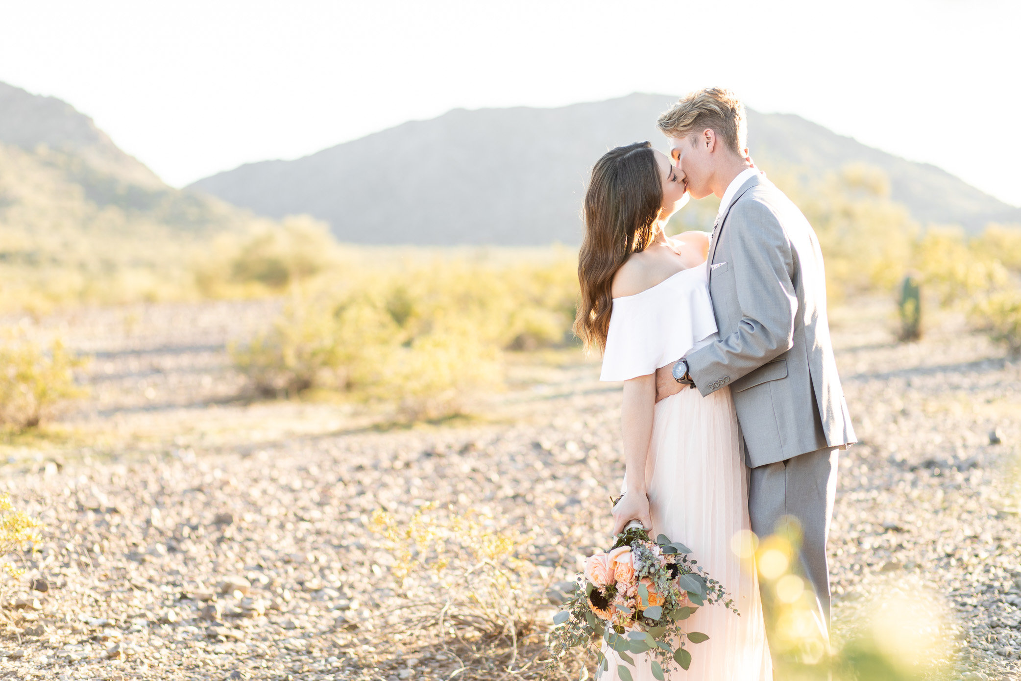 Elizabeth and Tyler Kissing at Estrella Mountain