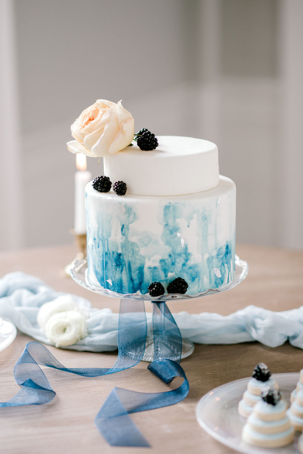 Water Color Wedding Cake Blue Ships of the Sea