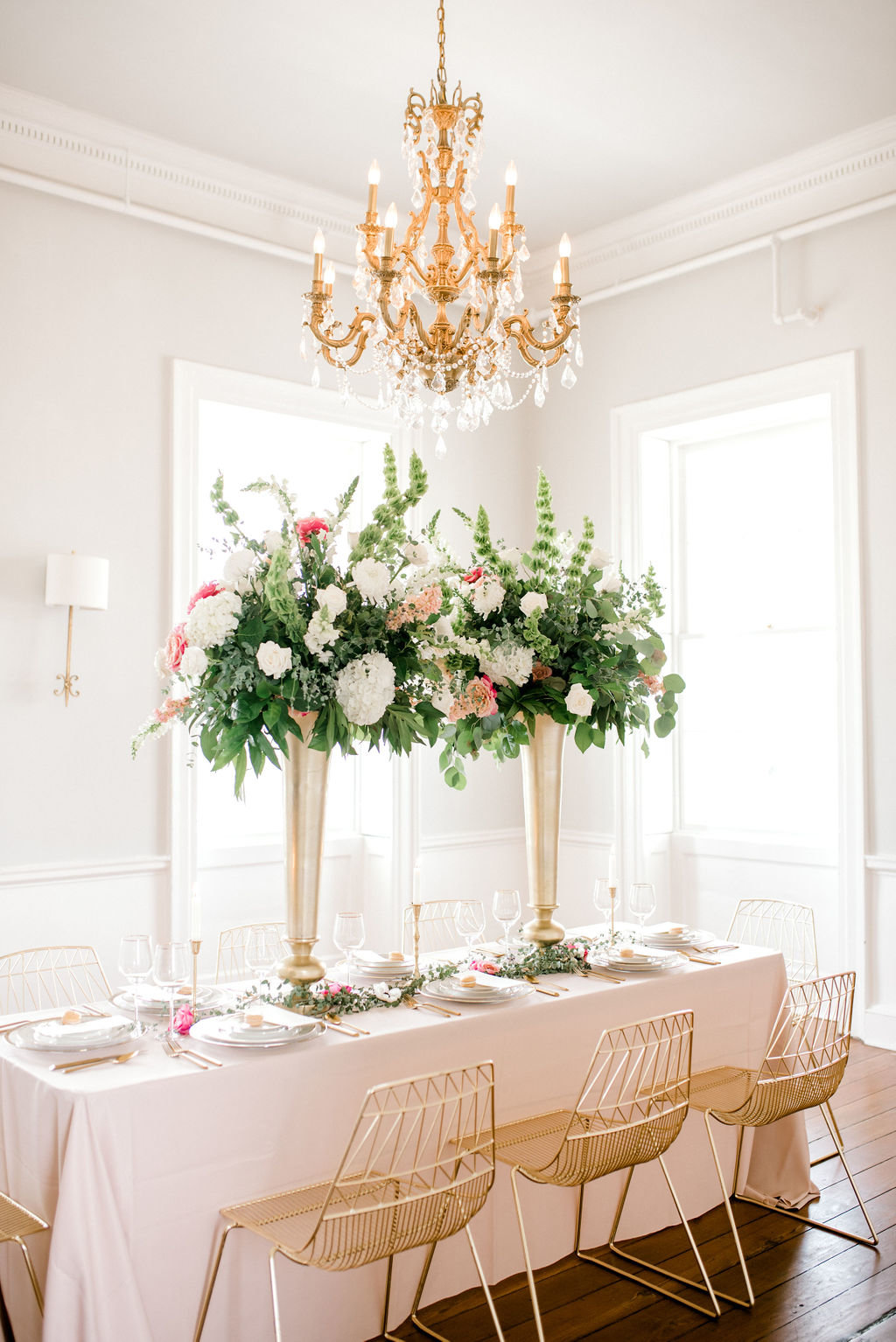 Luxury wedding georgia Savannah pink gold vintage wedding