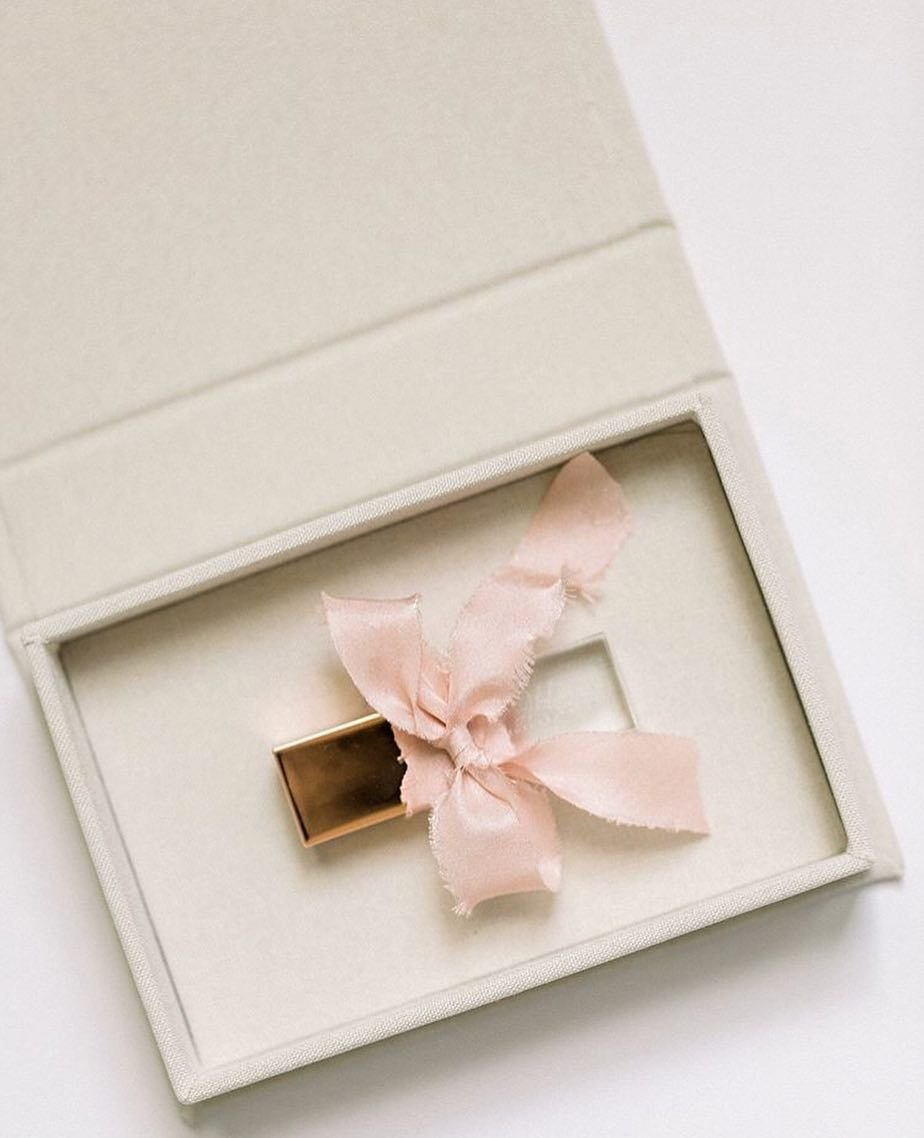 Crystal USB wrapped in blush ribbon inside box
