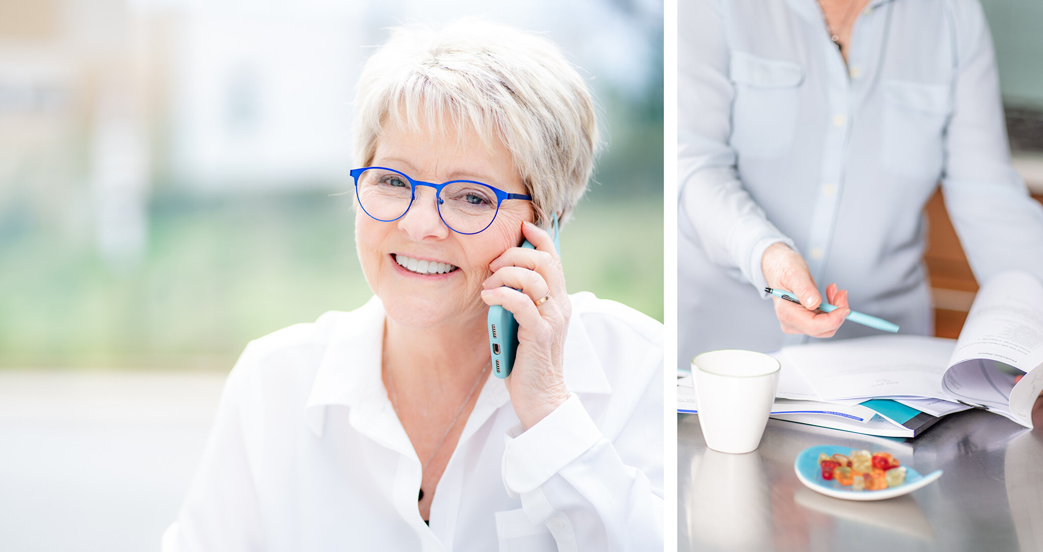 branding photos of small business owner going through planner and talking on cell phone
