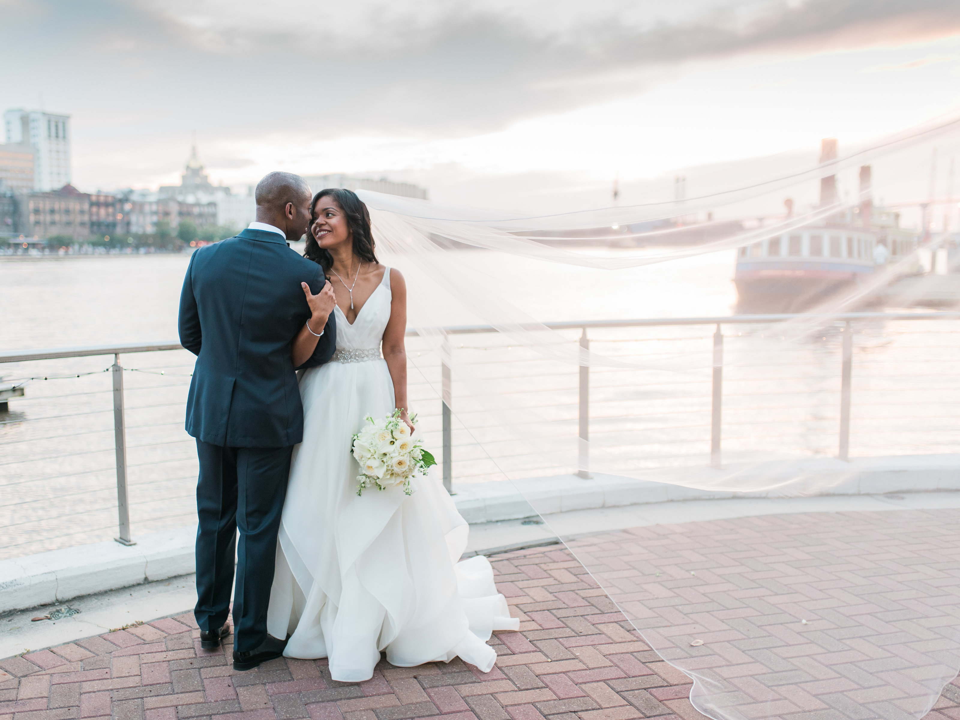 Westin Savannah Riverfront Bride and Groom Sunset