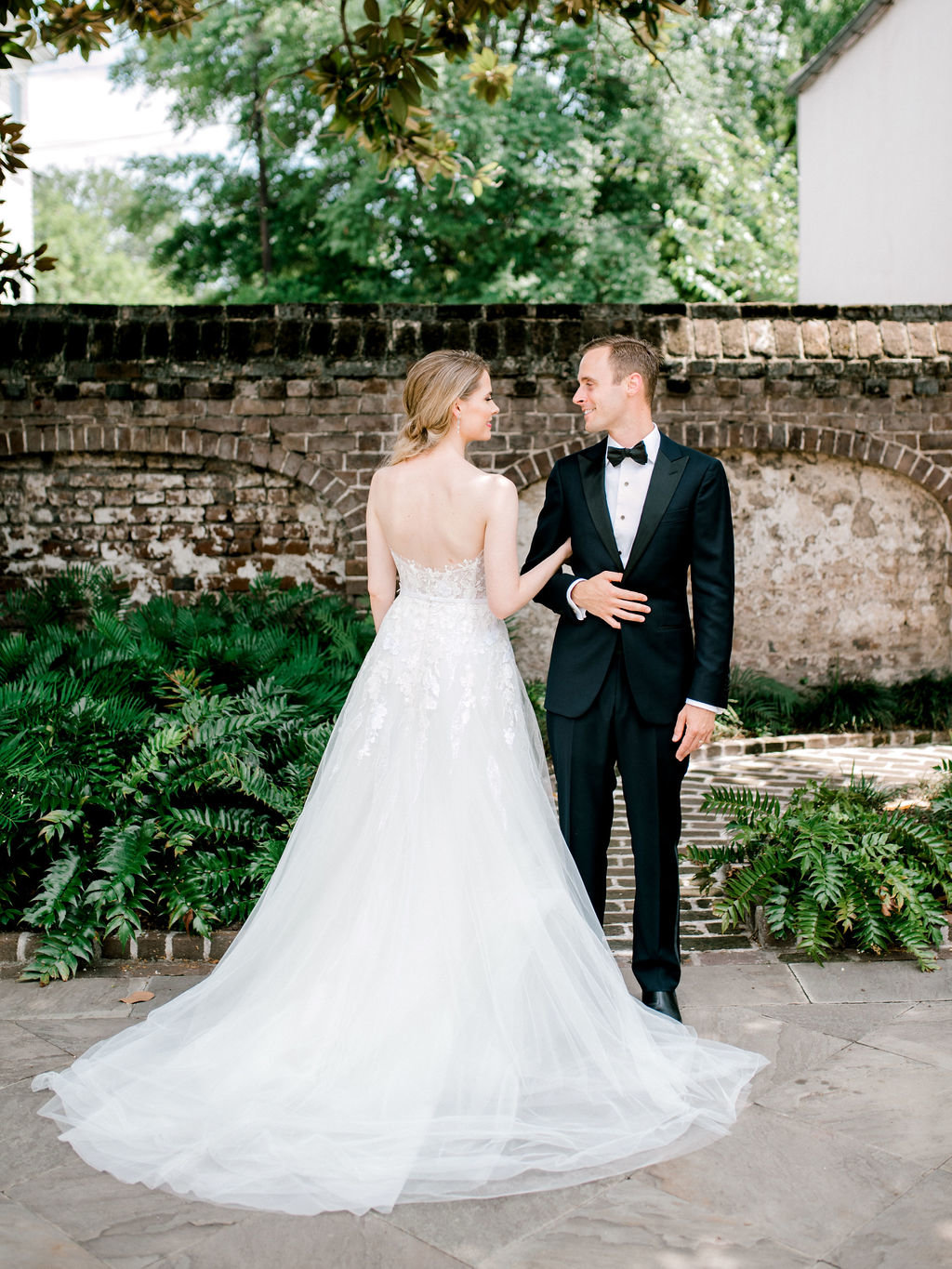 First look in garden destination wedding Charleston South Carolina