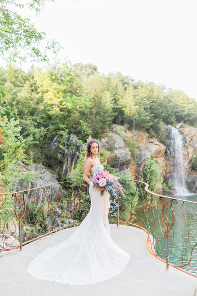 Bride poses on her wedding day at The Waterstone in Tennessee