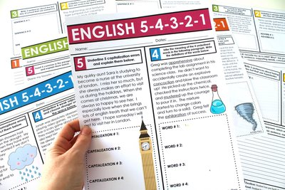 A homework or bell-ringer assignment where students complete English tasks for middle and high school.  Grammar, figurative language, parts of speech, writing, and word choice are among the few