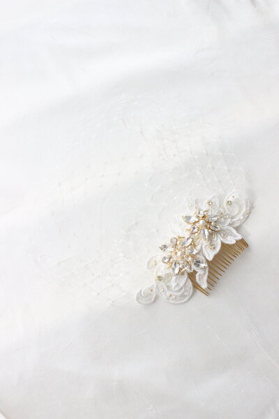 Birdcage veil with lace comb and gold crystals for Noela 4
