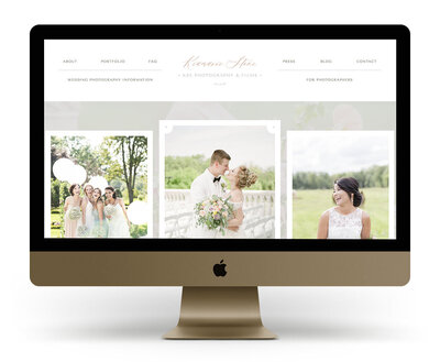 Custom Showit Website Design Mock Up for KSS Photography, a New Jersey wedding photographer and photography educator