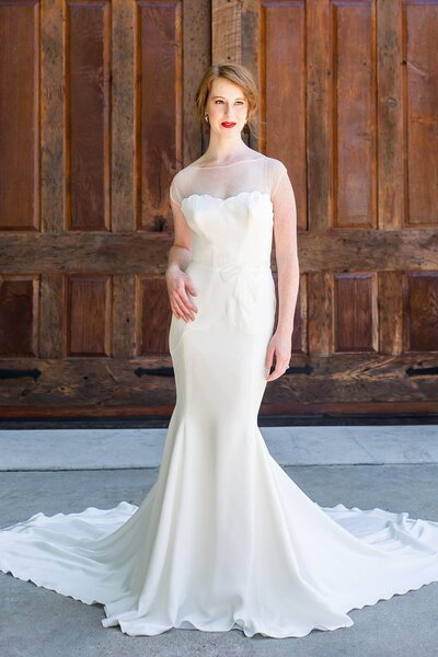 Photo link to more details about the Zara crepe wedding gown with an illusion neckline